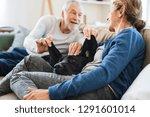 a happy senior couple sitting... | Shutterstock . vector #1291601014