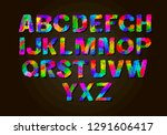 colorful letters set. colored... | Shutterstock .eps vector #1291606417