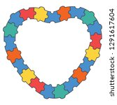 abstract puzzle heart border ... | Shutterstock .eps vector #1291617604