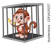 cute cartoon monkey inside... | Shutterstock .eps vector #1291619227