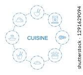 cuisine icons. trendy 8 cuisine ... | Shutterstock .eps vector #1291629094