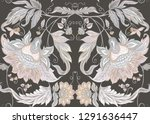 seamless pattern with stylized... | Shutterstock .eps vector #1291636447