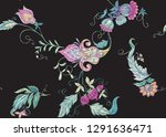 seamless pattern with stylized... | Shutterstock .eps vector #1291636471