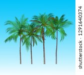vector of palm tree icons on... | Shutterstock .eps vector #1291640374