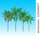 vector of palm tree icons on... | Shutterstock .eps vector #1291640377