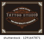 tattoo logo with vintage... | Shutterstock .eps vector #1291647871