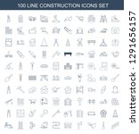 100 construction icons. trendy... | Shutterstock .eps vector #1291656157