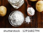 potato starch in a glass bowl... | Shutterstock . vector #1291682794