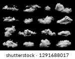 white cloud isolated on a black ... | Shutterstock . vector #1291688017