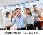 business team celebrating a... | Shutterstock . vector #129169541