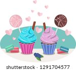 cupcakes and hearts romantic...   Shutterstock .eps vector #1291704577