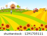 summer landscape with pets and... | Shutterstock .eps vector #1291705111