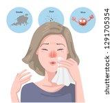 woman got sick flu. blowing her ... | Shutterstock .eps vector #1291705354