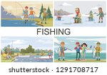 flat fishing hobby composition... | Shutterstock .eps vector #1291708717