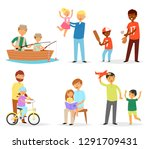father and child vector dad and ... | Shutterstock .eps vector #1291709431