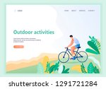 web page template with bicycle... | Shutterstock .eps vector #1291721284
