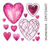 set hearts watercolor...   Shutterstock . vector #1291722637