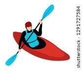 kayak man isolated on white... | Shutterstock .eps vector #1291727584