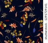 folk flowers. seamless floral...   Shutterstock .eps vector #1291729141