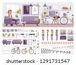 freelancer girl room interior ... | Shutterstock .eps vector #1291731547