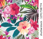 vector tropical pattern with... | Shutterstock .eps vector #1291738774
