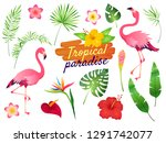 tropical flamingos. pink...   Shutterstock .eps vector #1291742077