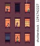 windows with neighbors.... | Shutterstock .eps vector #1291742227