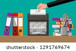 hand putting document paper in... | Shutterstock .eps vector #1291769674