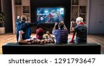 group of fans are watching a... | Shutterstock . vector #1291793647