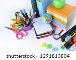 lots of school supplies on... | Shutterstock . vector #1291813804