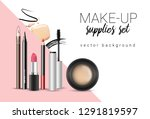 vector make up themed poster... | Shutterstock .eps vector #1291819597