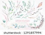 wreath of blossom pink cherry... | Shutterstock . vector #1291857994