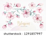 wreath of blossom pink cherry... | Shutterstock . vector #1291857997