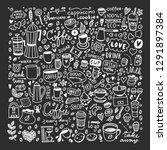 coffee doodles vector set on... | Shutterstock .eps vector #1291897384
