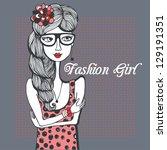 cute fashion girl in sketch...   Shutterstock .eps vector #129191351