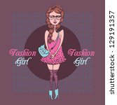 cute fashion girl in sketch... | Shutterstock .eps vector #129191357