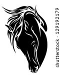 Black Horse Head Vector Design...