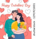 hugging couple with hearts... | Shutterstock .eps vector #1291921831