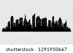 silhouette of city with black... | Shutterstock . vector #1291950667