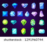 gemstones icons  cut gems and... | Shutterstock .eps vector #1291960744