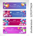 banner of happy valentines day... | Shutterstock .eps vector #1291975624