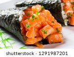 salmon temaki sushi on white... | Shutterstock . vector #1291987201
