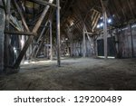 Old Wooden Barn With Light...