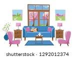 living room furniture in bright ... | Shutterstock .eps vector #1292012374