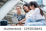 team meeting  three young woman ... | Shutterstock . vector #1292018641