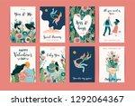 romantic set of cute... | Shutterstock .eps vector #1292064367