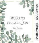 wedding invitation with...   Shutterstock .eps vector #1292105221