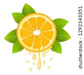 realistic orange slice with... | Shutterstock .eps vector #1292143351