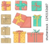 set gift boxes of different... | Shutterstock .eps vector #1292152687
