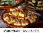 cornbread slices cubes with... | Shutterstock . vector #1292153971